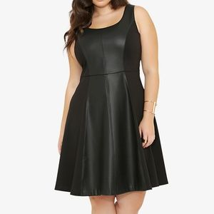 Torrid Faux Leather trim swing dress Plus size 24